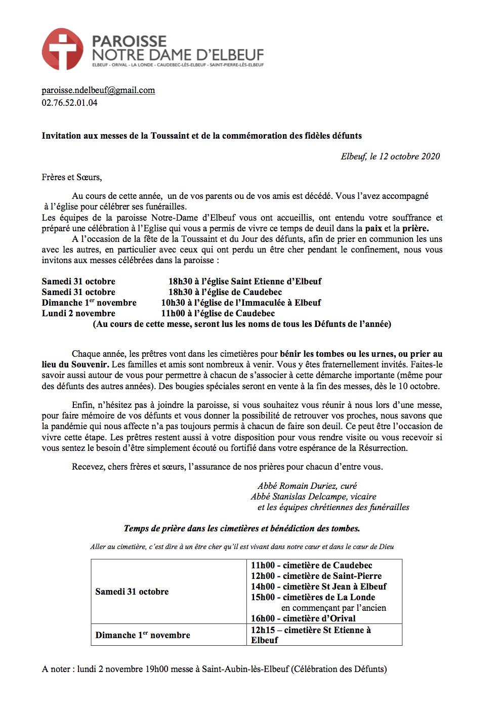 InvitationMesseToussaintDéfunts